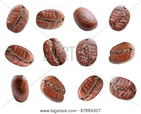 Collage of coffee beans isolated on white