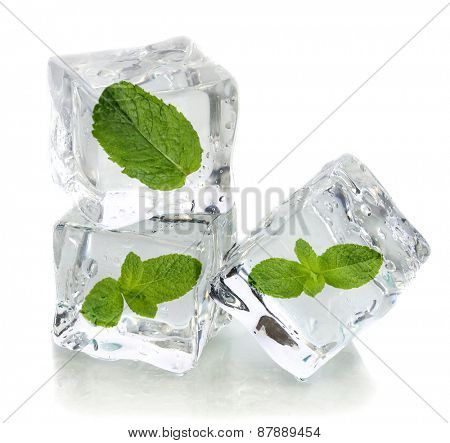 Ice cubes with mint, isolated on white