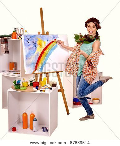 Artist woman at work. Isolated on white