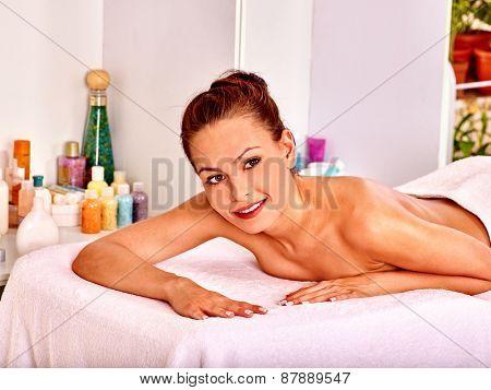 Blond beautiful woman  in health resort.