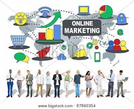 Online Marketing Global Business  Communication Concept