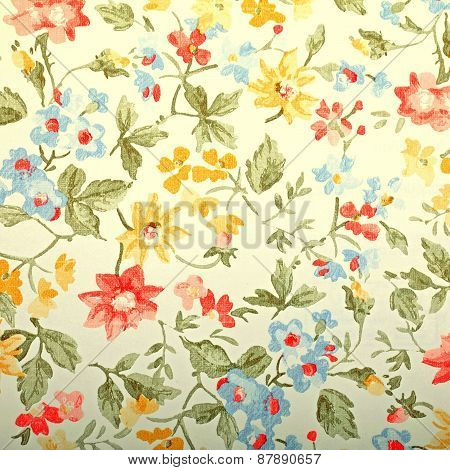 Vintage Provance Wallpaper With Floral Pattern