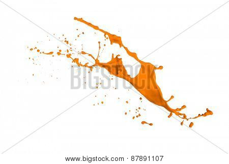 orange paint splash isolated on white background