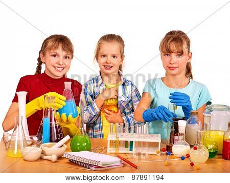 Child holding flask in chemistry on isolated.