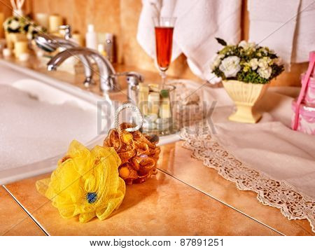 Home bathroom interior with bubble bath.