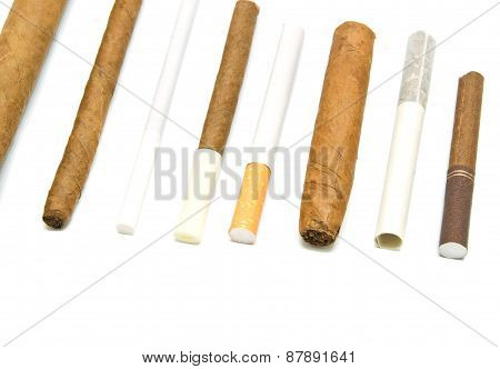 Many Cigarettes And Cigars On White