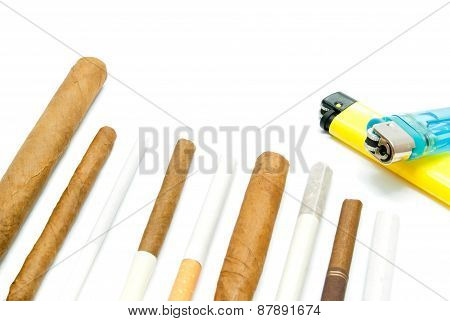 Many Cigars And Lighters On White