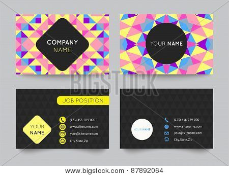 Business card template set, abstract colorful geometric background. Vector illustration