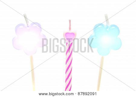 Three Different Candles For Cake