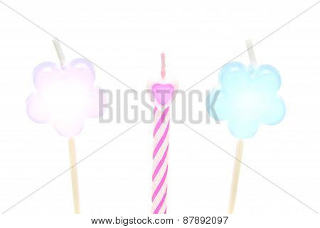 Three Different Candles For The Cake