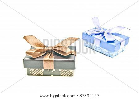 Two Different Gift Boxes On White