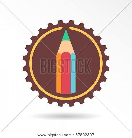 Pencil circle emblem. Vector logo and icon