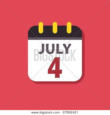 Calendar vector icon. Signs for smartphone and tablets, web design, websites, app. Holiday. Independence Day
