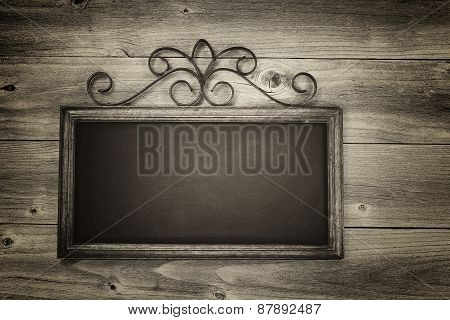 Vintage Chalkboard On Rusitc Wood