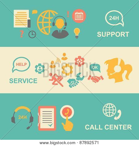 Call center  banners set with support and service    isolated  illustration