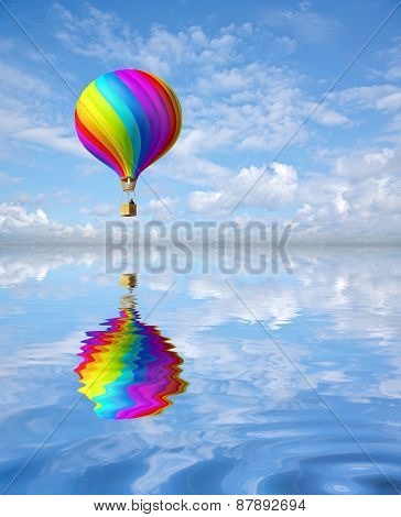 Colorful Hot Air Ballon In The Blue Sky