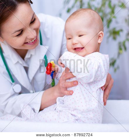 Doctor Is Examining Little Child