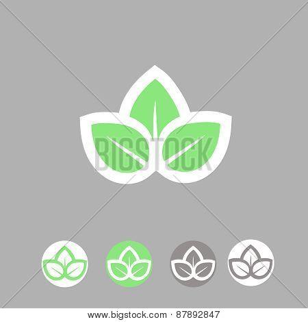 Green leaves  ecology symbol. template logo design.