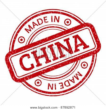 Made in China red vector graphic. Round rubber stamp isolated