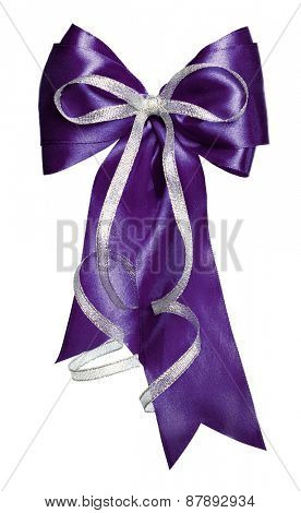 dark blue bow with silver ribbon made from silk isolated