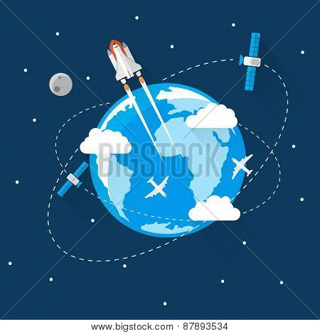 Blue Earth in space Modern Flat Design