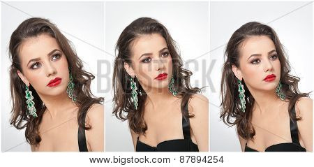 Hairstyle and make up - beautiful female art portrait with earrings. Elegance. Genuine brunette