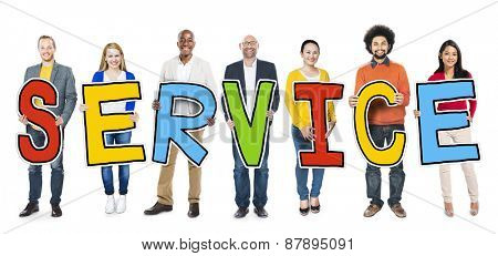 Diverse Group of People Holding Text Service