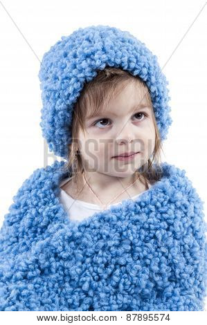 Portrait Of Little Girl In Winter Hat
