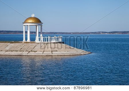 Classic Style Gazebo With Column On Shore