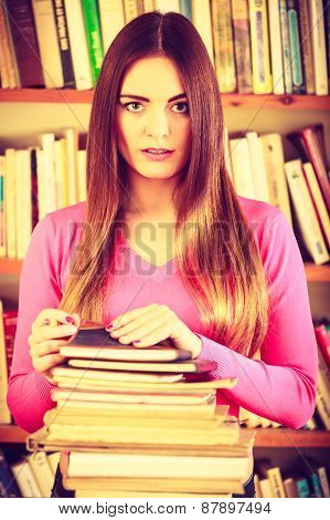 Hipster Girl Student In College Library