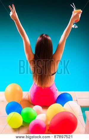 Blissful Woman Having Fun At Swimming Pool