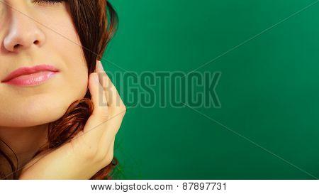 Closeup Part Of Woman Face Female Lips