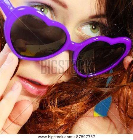Girl In Violet Sunglasses Portrait