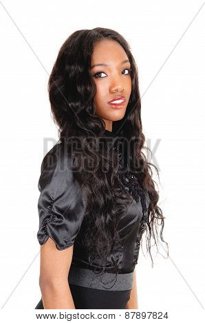 Black Girl In Black Blouse