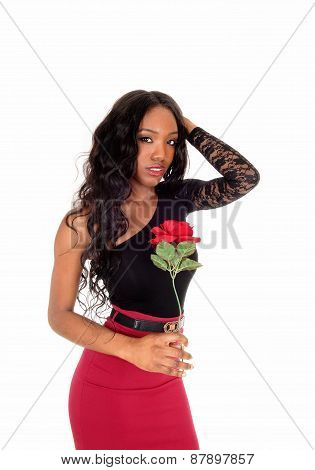 Black Woman Holding Red Rose.