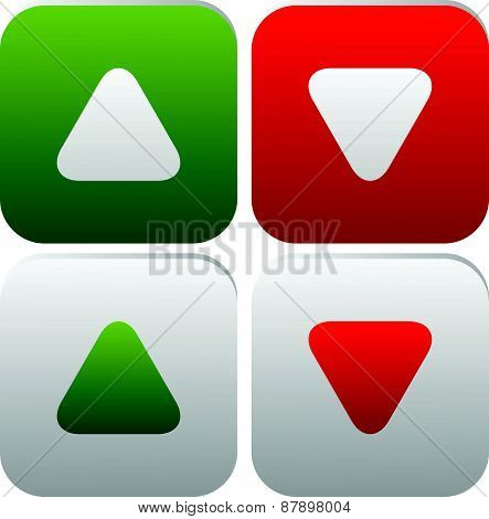 Rounded Arrows, Arrowheads Up And Down. Minimal Buttons Or Icons. Editable Vector.