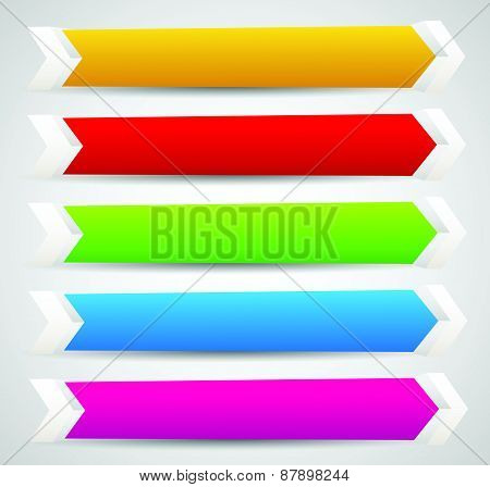 Horizontal Banner Or Button Templates With Blank Space For Your Message - 3D Banners With Arrows, Ar