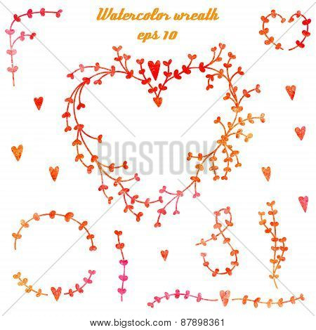 Vector Set Of Hand Drawn Watercolor Elements For Wedding Invitations And Valentine's Day Cards