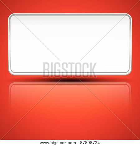 Plaque Shape With Blank Space On Bright Red