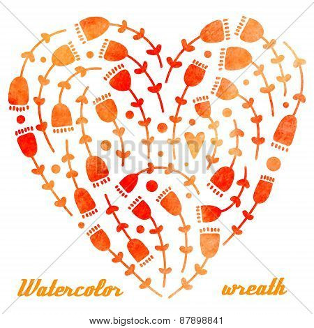 Vector Watercolor Hand Drawn Wreath With Flowers And Heart, Different Shades Of Orange