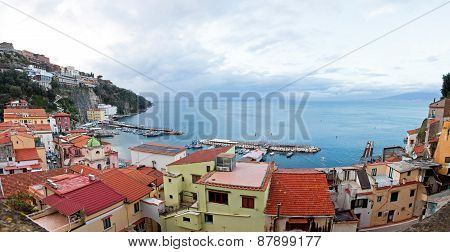 Panoramic View Of Small Harbour In Sorrento City, Italy