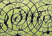 Witch And Witchcraft Symbols On A Wrought Iron Gate Ashby Hall Northamptonshire The Midlands England poster