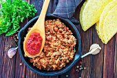 pic of tacos  - a bowl of fried ground meat with tomatoes ready for tacos - JPG