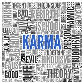 foto of karma  - Close up KARMA Text at the Center of Word Tag Cloud on White Background - JPG