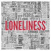 pic of loneliness  - Close up Red LONELINESS Text at the Center of Word Tag Cloud on White Background - JPG