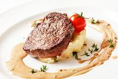 picture of mashed potatoes  - steak with mashed potatoes - JPG