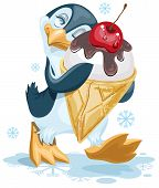 picture of cone  - Penguin is an ice cream cone with a cherry - JPG