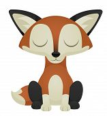 image of goodnight  - Illustration of a cute cartoon fox with its eyes closed - JPG