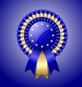 picture of rosettes  - European rosette and ribbon isolated on blue background - JPG