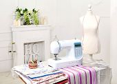 stock photo of shiting  - Sewing machine mannequin nitki - JPG